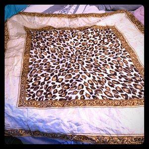 Dennis Basso Silk leopard print scarf